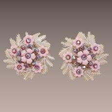 Coro Large Pink Flower Earrings with Pink AB Rhinestones