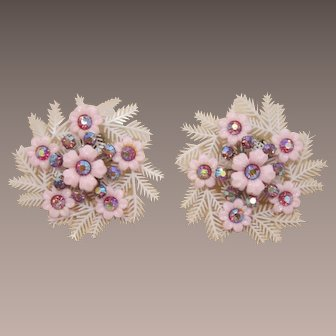 Coro Large Pink Flower Earrings with Pink AB Rhinestones