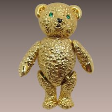 Napier Gold-tone Teddy Bear Pin with Moveable Head, Arms and Legs