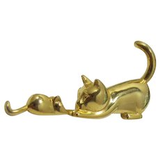 Cute Cat and Mouse Figural Pin