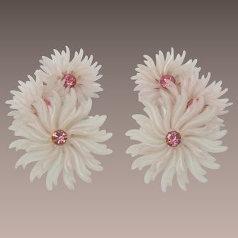 Pale Pink Thermoplastic and Rhinestone Flower Earrings