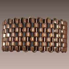 Wide Basketweave Copper Bracelet