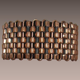 Wide Basketweave Copper Bracelet