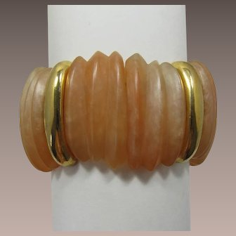 Napier Swirled Tangerine Peach Colored Expandable Thermoplastic Bracelet