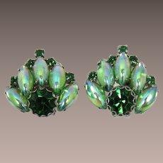 Peridot and Tourmaline Green Rhinestone Earrings