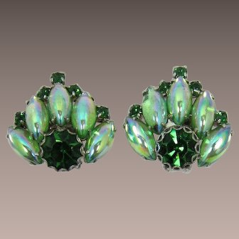 Peridot and Tourmaline Green Rhinestone Earrings