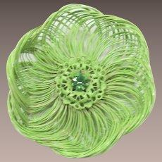 Bright Pastel Lime Green Enameled Flower Pin