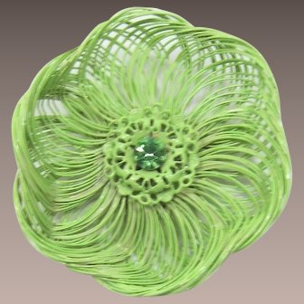 Bright Pastel Lime Green Enameled Flower Pin