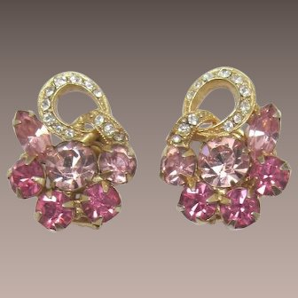Weiss Rose and Bright Pink Rhinestone Earrings