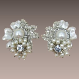 1980's Pearlized Flower Earrings with Beads and Rhinestones