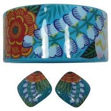 "Avon ""Tropical Beauty"" Aqua Flower Bangle and Earrings Set - Book Piece"