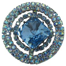 Beautiful Blue and Blue Aurora Borealis Rhinestone Brooch
