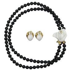 """KJL for Avon """"Midnight Rose"""" Black Bead and White Roses Necklace & Earrings"""