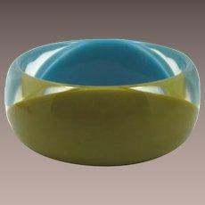 Graziano Turquoise and Olivine Lucite Bangle Bracelet