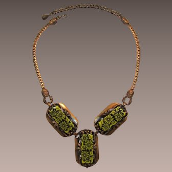 Selro Copper and Yellow Flower Inset Necklace