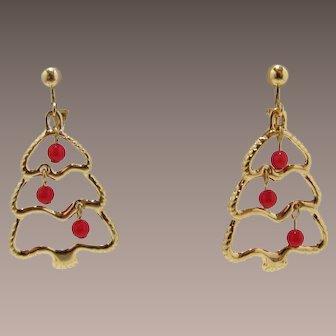 Avon Dangling Christmas Tree Earrings - Book Piece