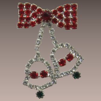Red Rhinestone Bow Brooch with Dangling Christmas Bells