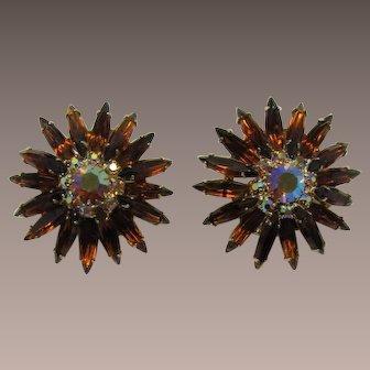 Smoky Topaz Thin Navette Sunburst Earrings