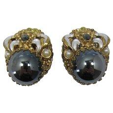West Germany Hematite Rhinestone Cabochon Earrings