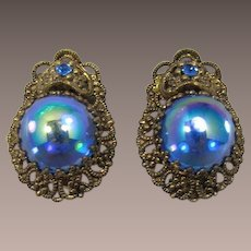 West Germany Blue Iridescent Cabochon Earrings