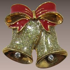 Avon Double Bell Christmas Pin