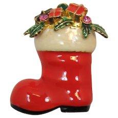 Eisenberg Ice Enameled Santa Boot Christmas Pin