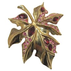 Bright Gold-tone Leaf Brooch with Red and Pink Rhinestones