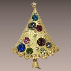 Christmas Tree Pin with Teal, Black Diamond, Pink, Smoky Topaz Rhinestones