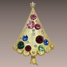 Christmas Tree Pin with Green, Red, Blue and Pink Rhinestones