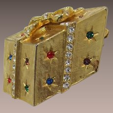 Gold-tone Wrapped Christmas Present Brooch