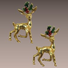 Two Gerry's Christmas Reindeer with Holly Antlers