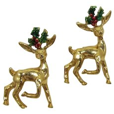 Two Gerry's Christmas Reindeer Pins with Holly Antlers