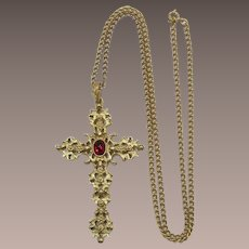 Avon Renaissance Style Cross with Ruby Red Cabochon