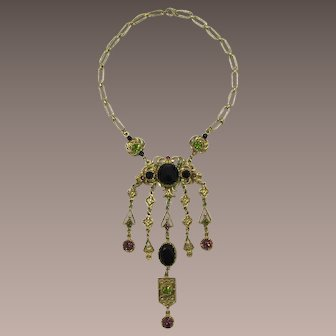 Lupe' Victorian Revival Long Dangling Necklace with Black and Purple Rhinestones
