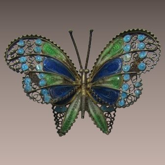 800 European Silver and Gilt Enameled Butterfly