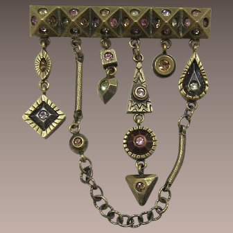 Patricia Locke Modernist Brooch with Dangling Charms