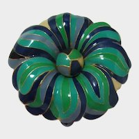 Large Green and Blue Enameled Flower Brooch
