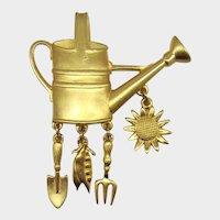 J.J. Jonette Jewelry Watering Can Brooch