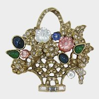 1928 Jewelry Co. Basket Brooch with Pink and White Flowers