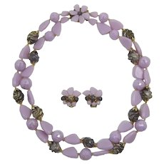 Two Strand Orchid-Lavender & Olive Beaded Necklace and Earrings