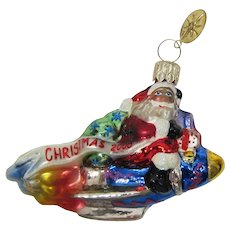 "Christopher Radko ""Millennium Blastoff"" Santa on Rocket Ship Ornament - Retired"