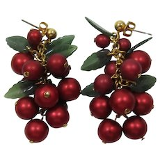 """Avon """"Happy Holly Days"""" Deep Red and Green Dangling Pierced Earrings with Original Box"""