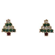 "Avon ""Sparkling Christmas Tree Earrings"" -- Pierced / Post"