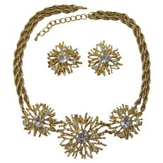 """KJL Kenneth Lane for Avon """"Regal Riches"""" Spiky Clear Rhinestone Necklace and Earrings Set"""