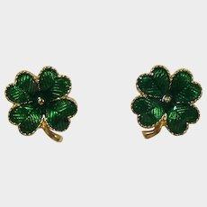 Wonderful Avon Green Enamel Lucky Four Leaf Clover Earrings - Book Piece