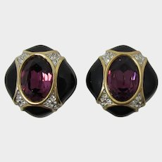 Elegant Signed Swarovski Deep Purple Rhinestone and Black Enameled Earrings