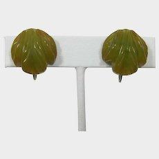 Deeply Carved Swirled Olive Green Bakelite Earrings