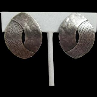 Marjorie Baer Silver-tone Modernist Clip Earrings - New on Card