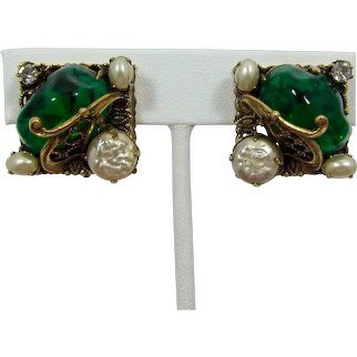 Filigree Earrings with Flawed Emeralds and Imitation Pearls