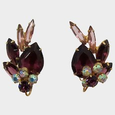 DeLizza & Elster Juliana Purple Rhinestone Earrings with Wired Over Florettes